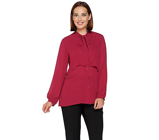"""As Is"" Joan Rivers Layered Blouse with Neck Tie"