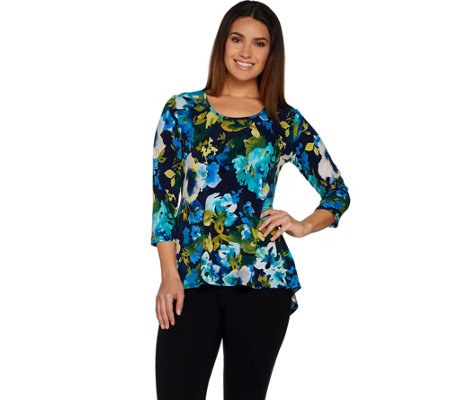 Susan Graver Printed Liquid Knit 3/4 Sleeve U-Neck Top