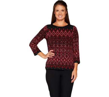 Bob Mackie Long Sleeve Placement Print Knit Top