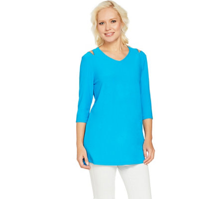 """As Is"" Dennis Basso Caviar Crepe Cold Shoulder Top with Zip Detail"