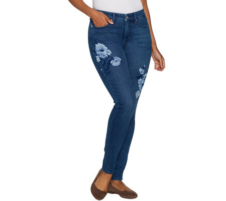 Martha Stewart Petite Floral Embroidered 5-Pocket Ankle Jeans