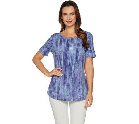 """As Is"" Lisa Rinna Collection Printed Knit Top w/Bk Detail"