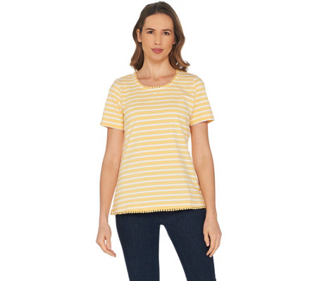 Denim & Co. Striped Round Neck Perfect Jersey Top with Lace Trim