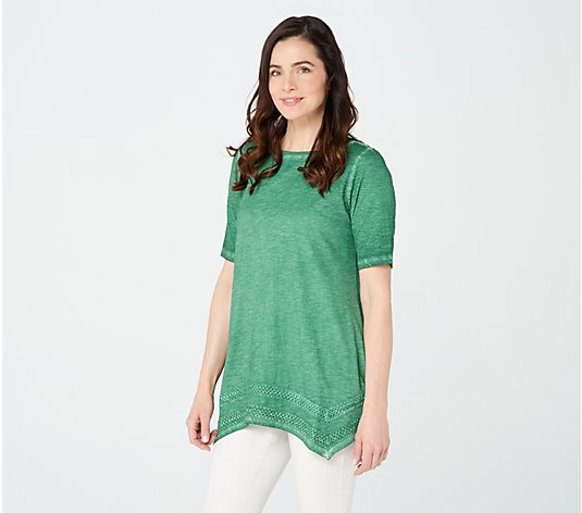 LOGO by Lori Goldstein Distressed Cotton Slub Top w/ Lace
