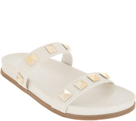 Marc Fisher Double Strap Studded Slide Sandals - Noleta