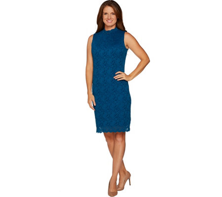 """As Is"" Susan Graver Stretch Lace Mock Neck Dress"