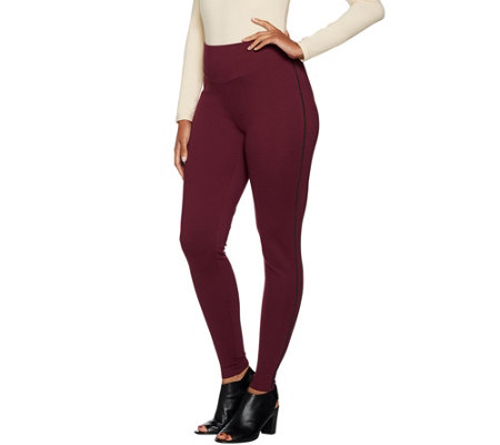 """As Is"" Lisa Rinna Collection Pull On Satin Stripe Leggings"