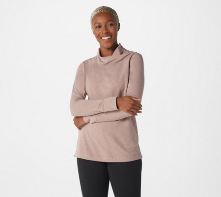 Cuddl Duds Comfortwear French Terry Long Sleeve Soft Cowl Top