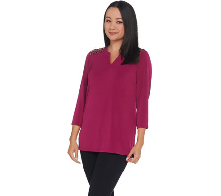 Susan Graver Artisan Liquid Knit Top With Beaded Accents