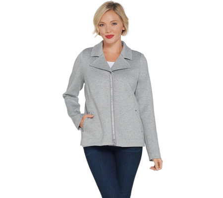 Dennis Basso Knit Zip-Front Jacket with Ribbon Trim Detail
