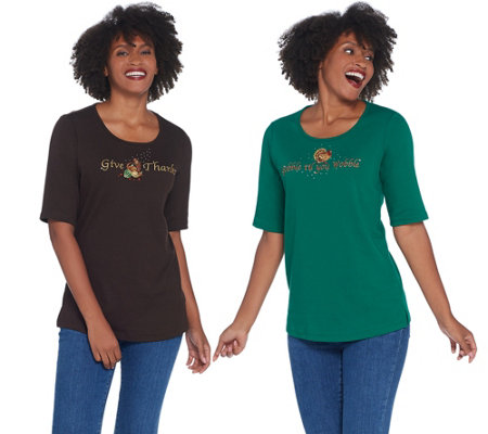 Quacker Factory Set of Two Embellished Scoop Neck Knit Tops