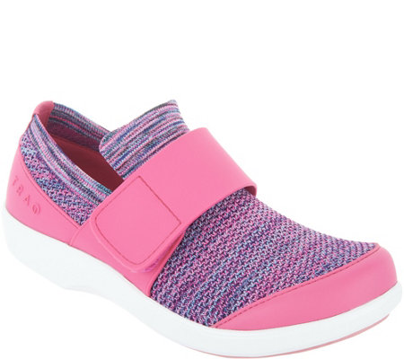TRAQ by Alegria Knit Slip-On Shoes with Cross Strap - QWik