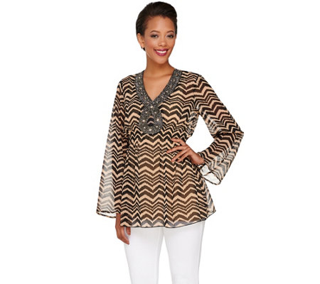 """As Is"" Attitudes by Renee Printed Tunic w/Beaded V-neckline"