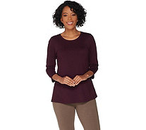 """As Is"" LOGO Principles by Lori Goldstein Cttn Modal Top w/ 3/4 Sleeves - A345384"