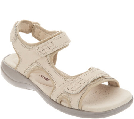 """As Is"" Clarks Leather Adjustable Comfort Sandals -Saylie Jade"