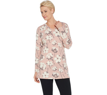 Denim & Co. Printed Brushed Heavenly Jersey Long-Sleeve V-Neck Tunic