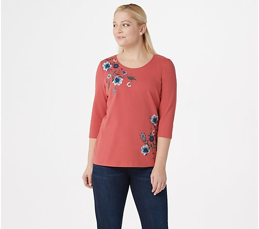 Denim & Co. French Terry 3/4-Sleeve Top with Embroidery