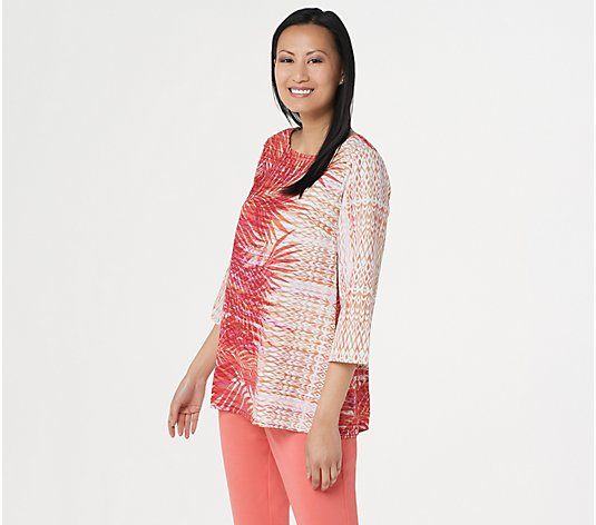 Bob Mackie South Sea Palm Print Woven Top