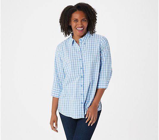 Joan Rivers Perfect Gingham Shirt with 3/4-Sleeves