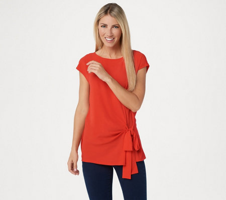 Vince Camuto Short Sleeve Soft Texture Mixed Media Top