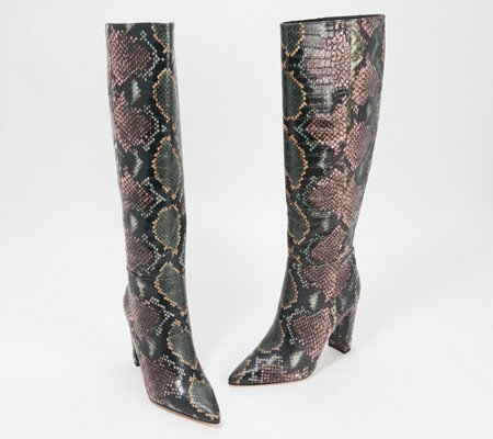 Sam Edelman Snake-Print Pointed-Toe Tall-Shaft Boots - Raakel