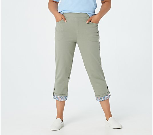 Quacker Factory French Terry Pants with Roll-up Cuffs