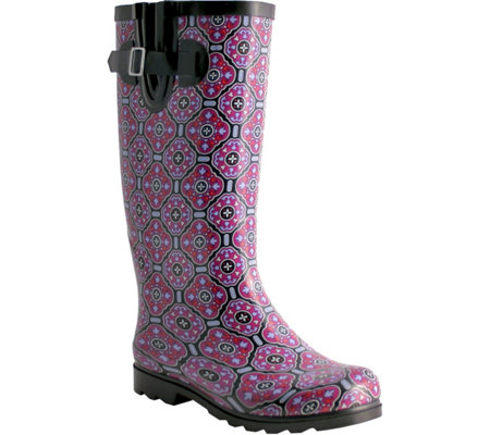 Nomad Rubber Black & Plum Tile Rain Boots - Puddles