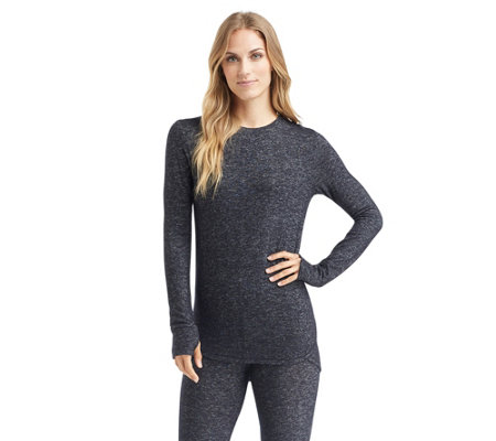 Cuddl Duds SoftKnit Long Sleeve Crew Neck Top