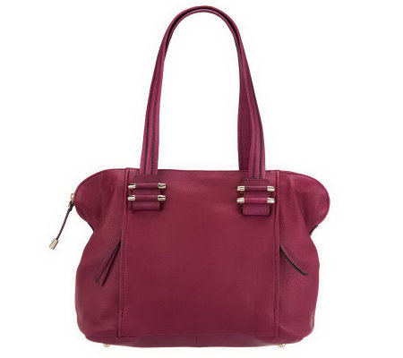 """As Is"" B. Makowsky Zip Top Satchel With Front Zipper Pockets"