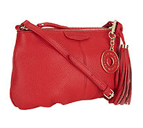 Isaac Mizrahi Live! Bridgehampton Leather Zip Top Crossbody Bag - A251185
