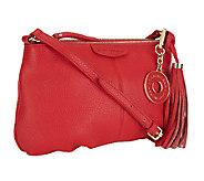 Isaac Mizrahi Live! Bridgehampton Leather Zip Top Crossbody Bag - A251185