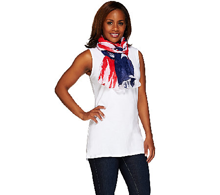 "Denim & Co. 28"" x 72"" Stars & Stripes Print Scarf"