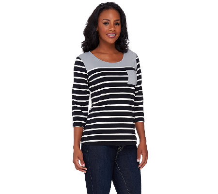 """As Is"" Denim & Co. 3/4 Sleeve Striped Knit Top with Colorblock Yoke"