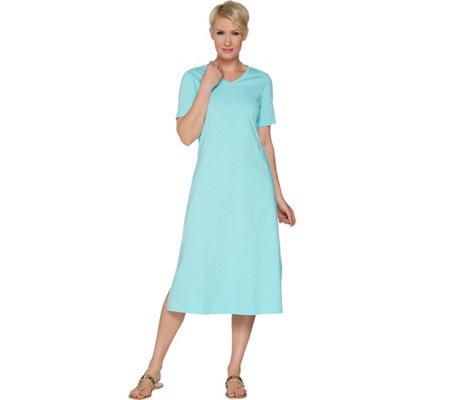 Denim Co Essentials Short Sleeve Midi Length Dress Page 1 Qvc