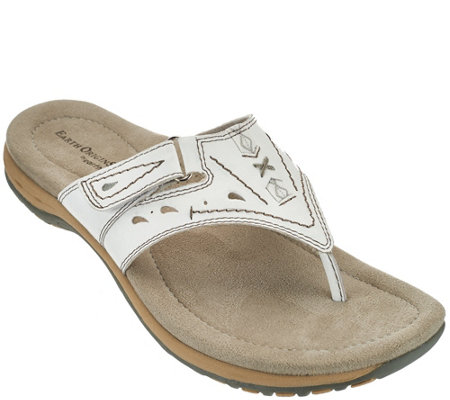 Earth Origins Leather Adjustable Thong Sandals - Sara