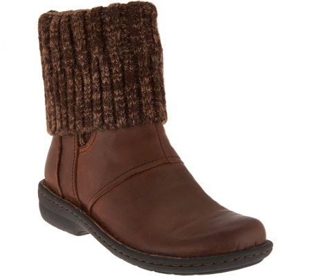 Clarks Artisan Leather Sweater Cuff Ankle Boots - Avington Style