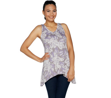LOGO Layers by Lori Goldstein Printed V-Neck Knit Tank