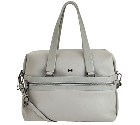 """As Is"" H by Halston Pebble & Saffiano Leather Large Satchel Handbag"
