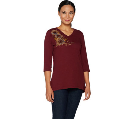 Quacker Factory 3/4 Sleeve Embroidered Knit Top with Hi-Low Hem