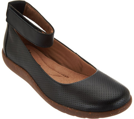"""As Is"" Clarks Leather Perforated Flats - Medora Nina"