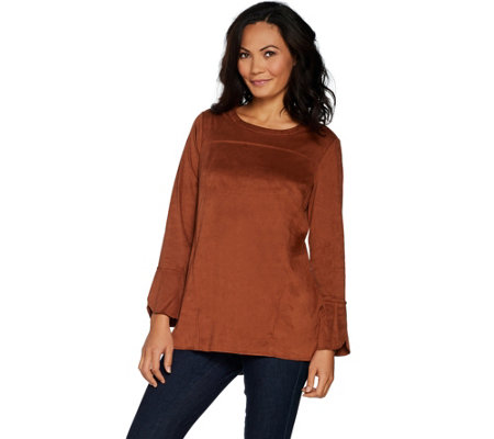 Studio by Denim & Co. Stretch Faux Suede Bell Sleeve Tunic