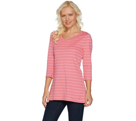 Isaac Mizrahi Live! Essentials 3/4 Sleeve Striped Tunic