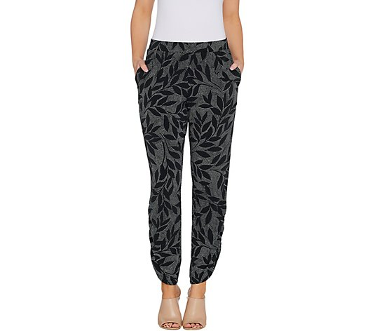Susan Graver Petite Printed Liquid Knit Pull-On Ankle Pants