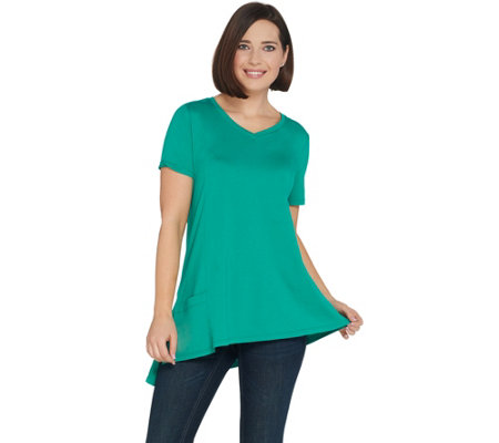 LOGO by Lori Goldstein Cotton Modal Knit Top w/ Asymmetric Hem