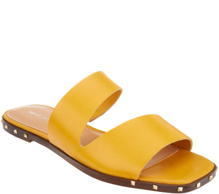 Marc Fisher Leather Studded Slide Sandals - Jaylin