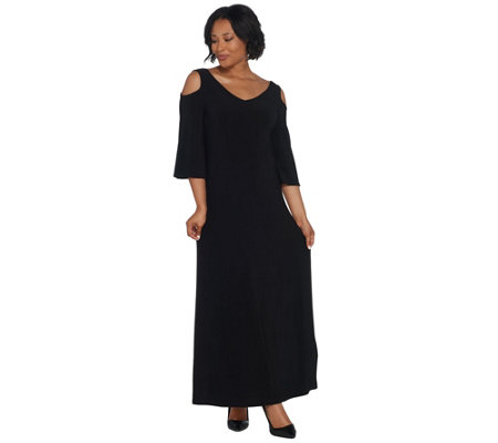 Attitudes by Renee Tall Como Jersey Flutter Sleeve Maxi Dress
