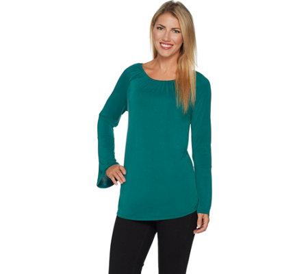 """As Is"" Kelly by Clinton Kelly Knit Top with Bell Sleeves"
