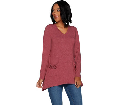 """As Is"" LOGO Lounge by Lori Goldstein Jersey V-Neck Top"