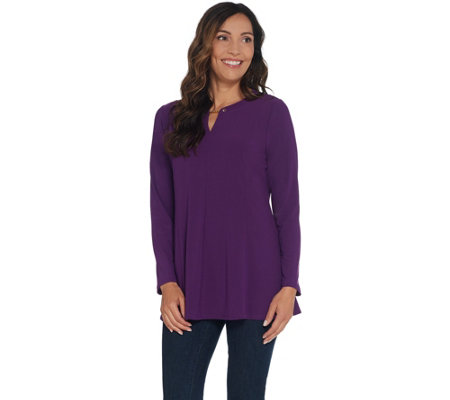 Susan Graver Textured Liquid Knit Fit & Flare Top with Trim