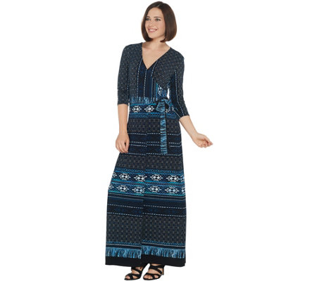 Attitudes by Renee Petite Como Jersey Printed Faux Wrap Maxi Dress